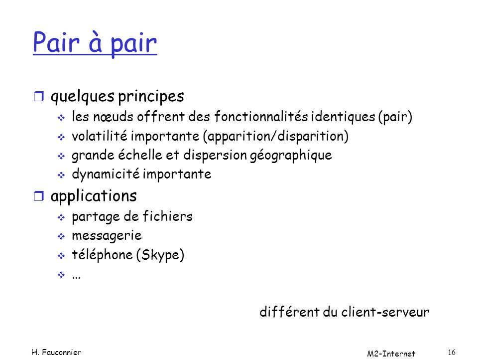Pair à pair quelques principes applications