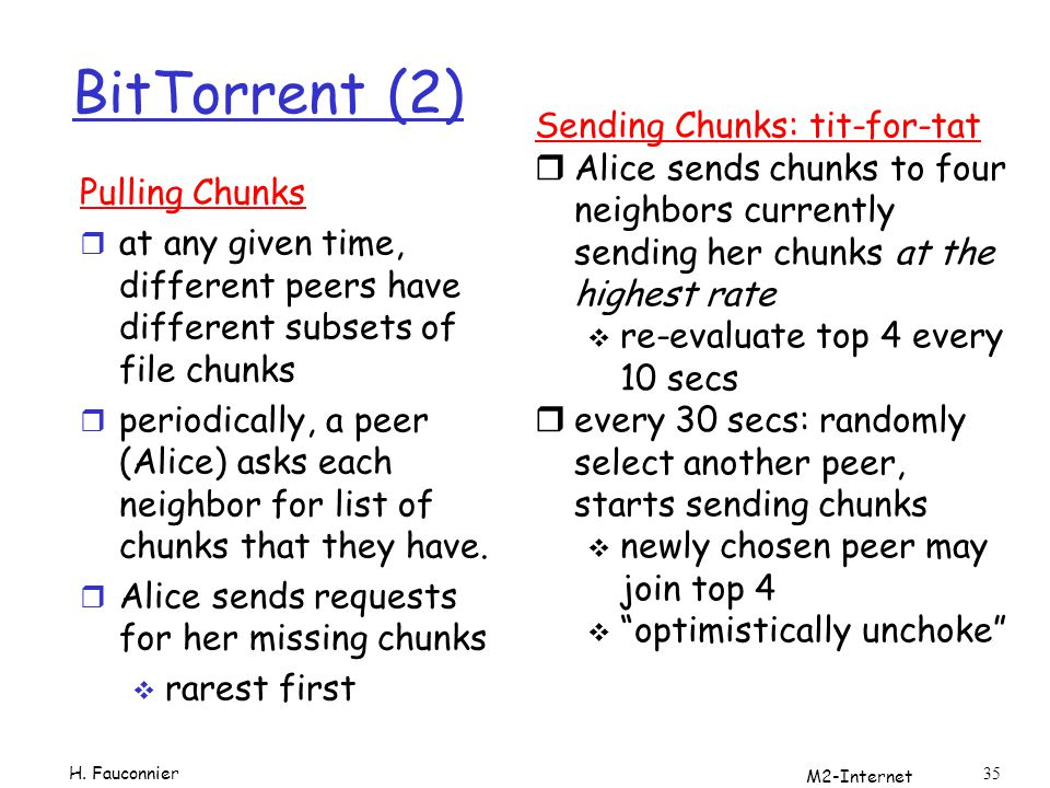 BitTorrent (2) Sending Chunks: tit-for-tat
