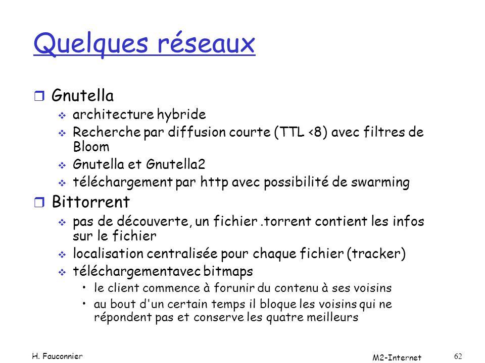 Quelques réseaux Gnutella Bittorrent architecture hybride