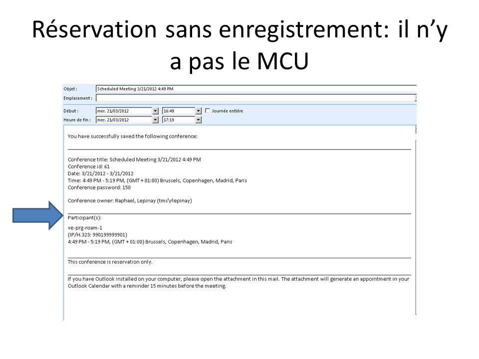 Réservation sans enregistrement: il n'y a pas le MCU