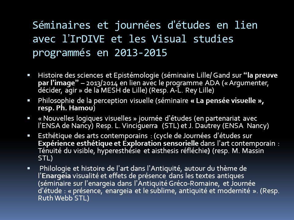 Séminaires et journées d'études en lien avec l'IrDIVE et les Visual studies programmés en 2013-2015