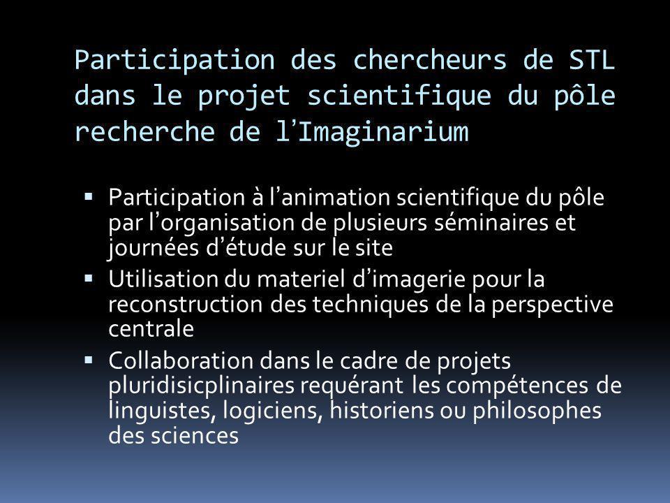 Participation des chercheurs de STL dans le projet scientifique du pôle recherche de l'Imaginarium