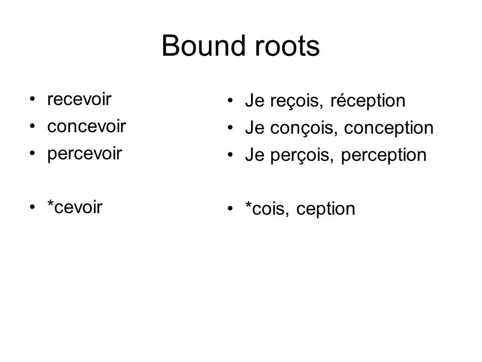 Bound roots recevoir Je reçois, réception concevoir