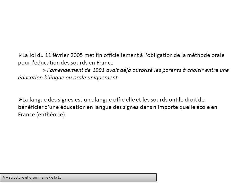 La loi du 11 février 2005 met fin officiellement à l obligation de la méthode orale pour l éducation des sourds en France