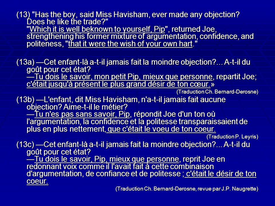 (13) Has the boy, said Miss Havisham, ever made any objection