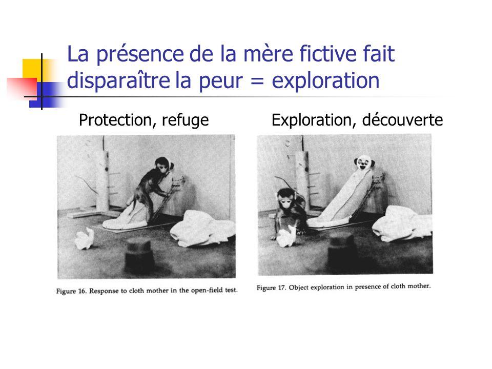 La présence de la mère fictive fait disparaître la peur = exploration