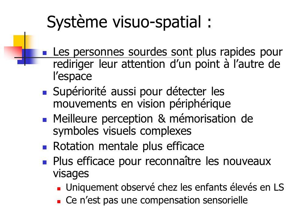 Système visuo-spatial :
