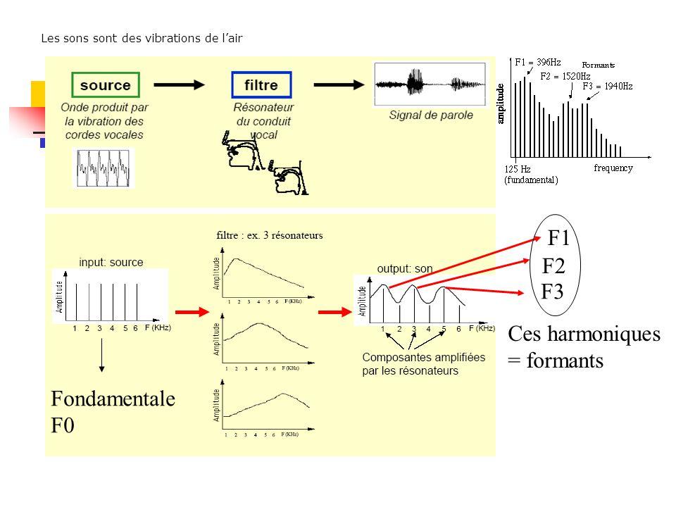 F1 F2 F3 Ces harmoniques = formants Fondamentale F0