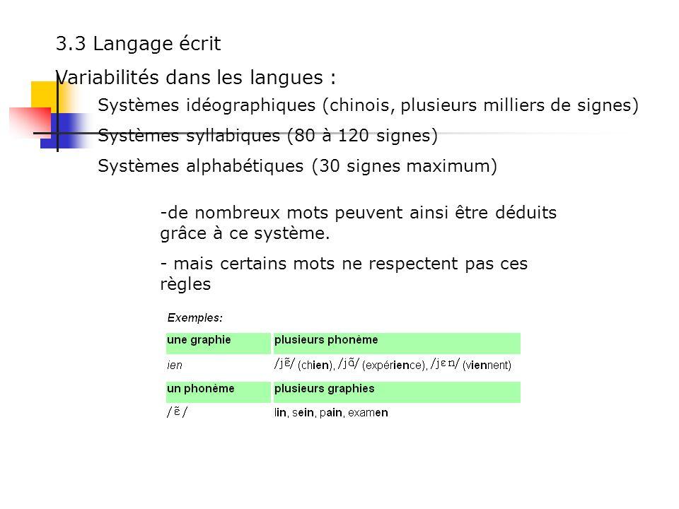 Variabilités dans les langues :