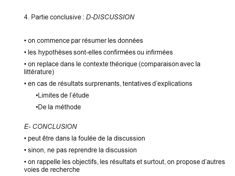 4. Partie conclusive : D-DISCUSSION