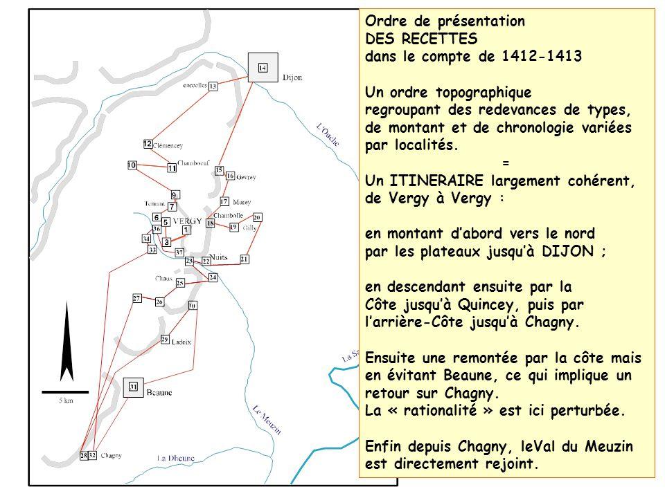 Ordre de présentation DES RECETTES. dans le compte de 1412-1413. Un ordre topographique.