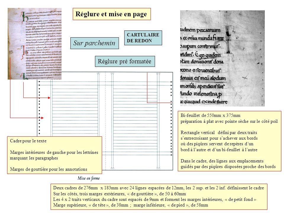 Réglure et mise en page Sur parchemin Réglure pré formatée CARTULAIRE