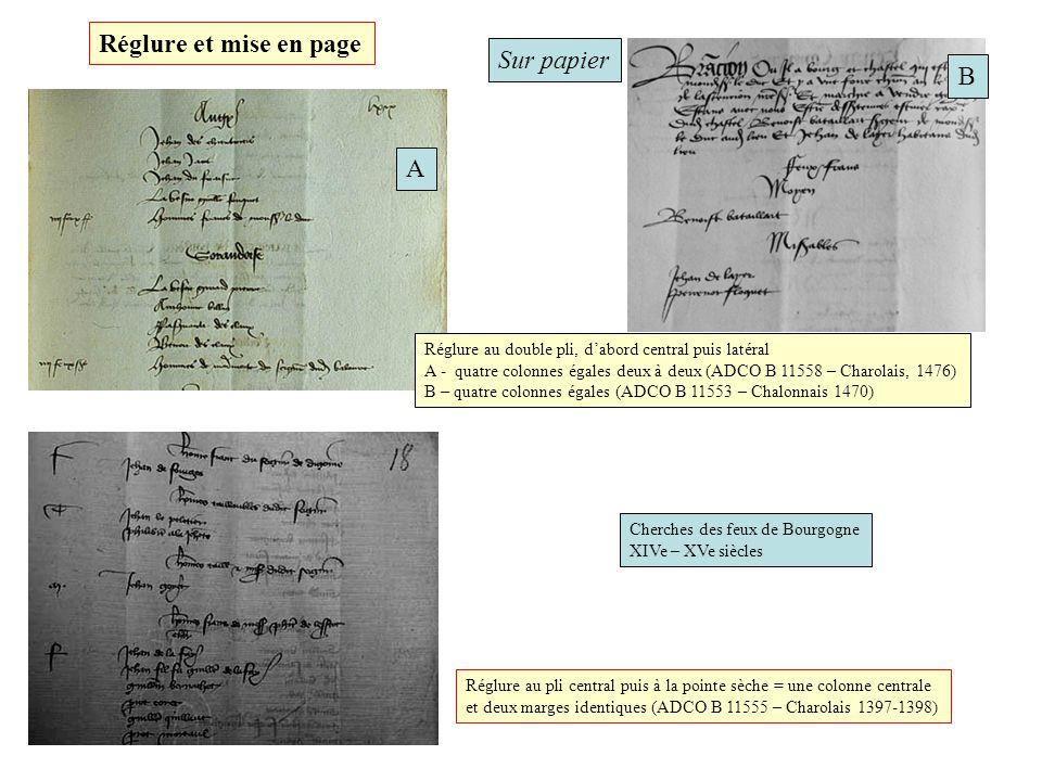 Réglure et mise en page Sur papier B A