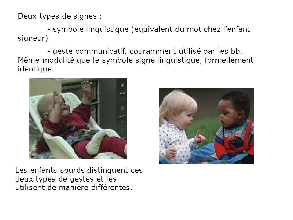 Deux types de signes : - symbole linguistique (équivalent du mot chez l'enfant signeur)