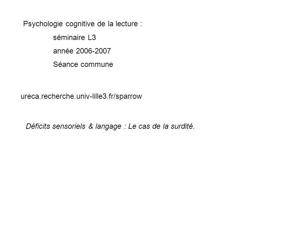 Psychologie cognitive de la lecture :