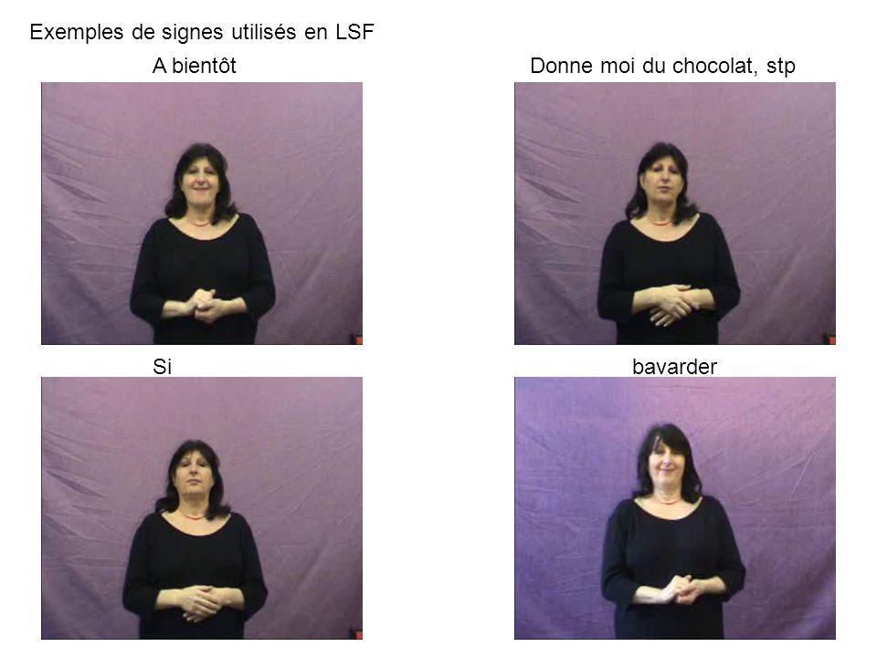 Exemples de signes utilisés en LSF