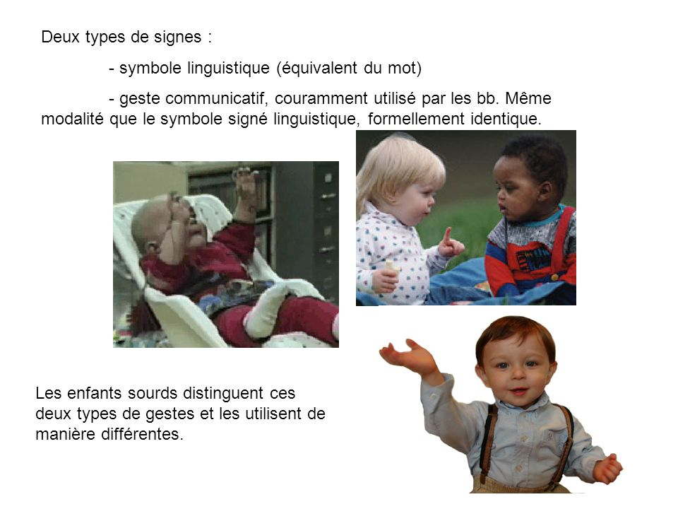 Deux types de signes : - symbole linguistique (équivalent du mot)