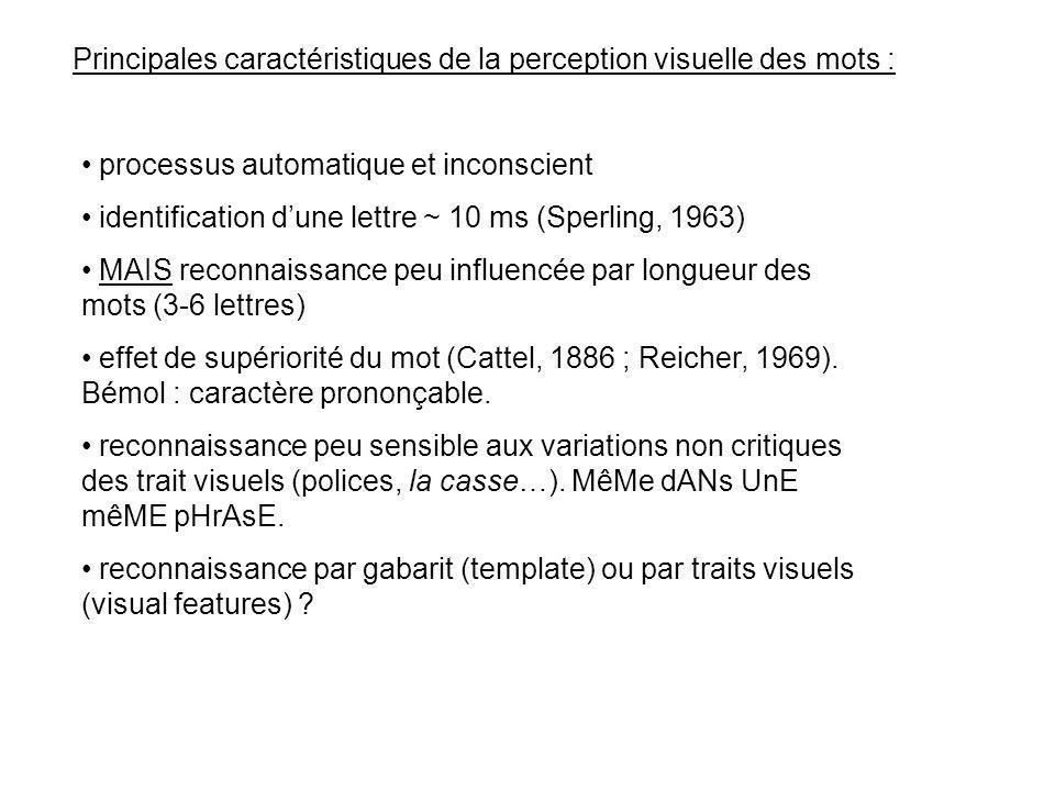 Principales caractéristiques de la perception visuelle des mots :