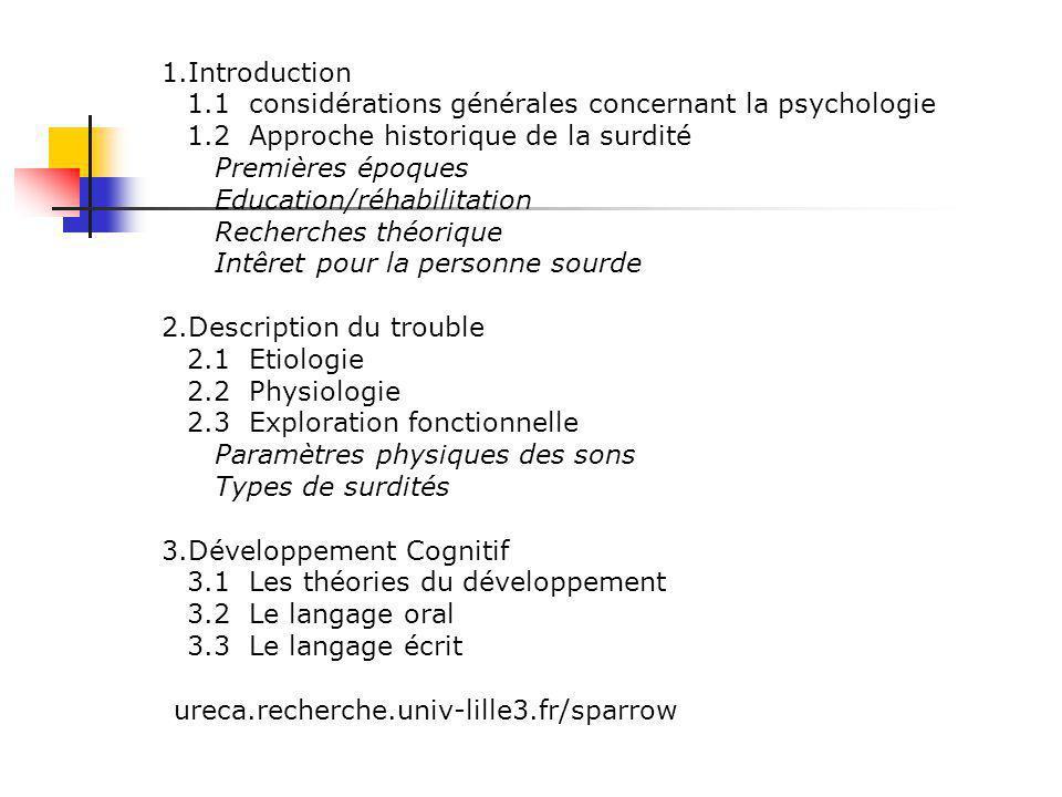 Introduction 1.1 considérations générales concernant la psychologie. 1.2 Approche historique de la surdité.