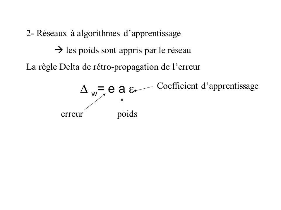 D w= e a e 2- Réseaux à algorithmes d'apprentissage