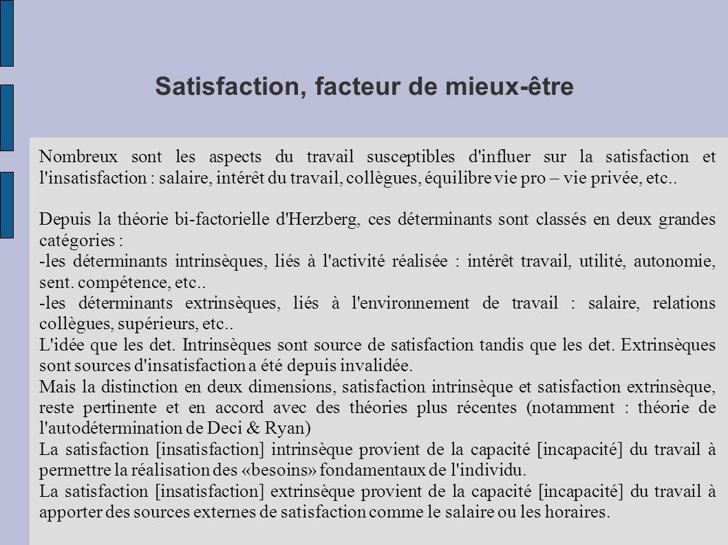 Satisfaction, facteur de mieux-être