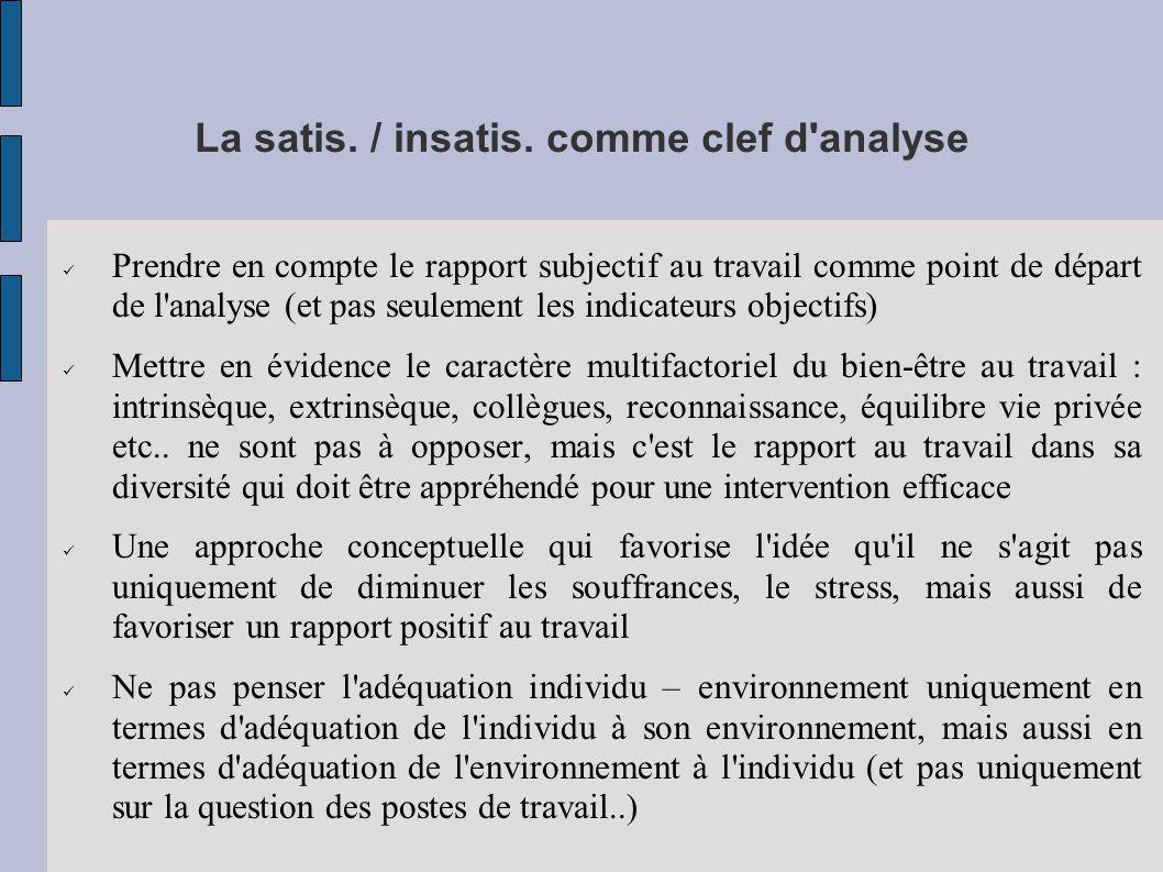 La satis. / insatis. comme clef d analyse