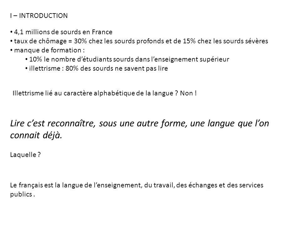 I – INTRODUCTION 4,1 millions de sourds en France. taux de chômage = 30% chez les sourds profonds et de 15% chez les sourds sévères.