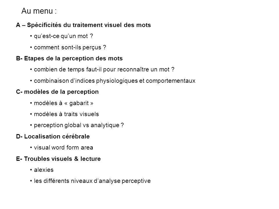 Au menu : A – Spécificités du traitement visuel des mots