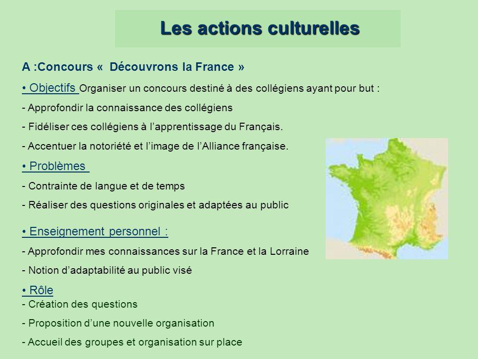 Les actions culturelles