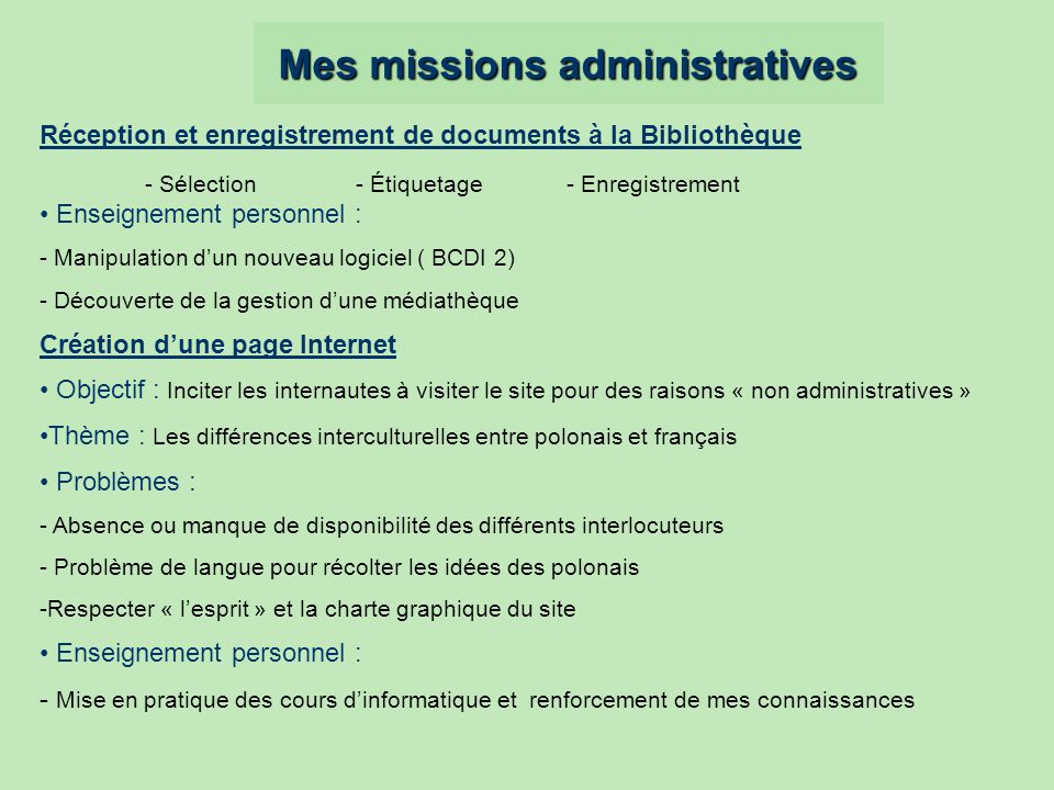 Mes missions administratives