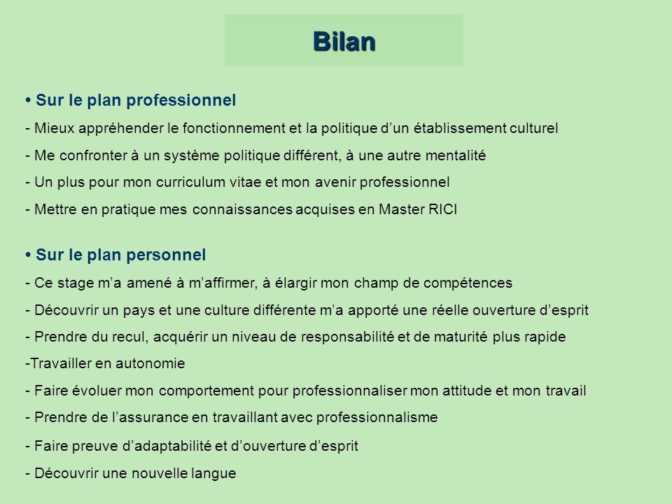 Bilan • Sur le plan professionnel • Sur le plan personnel