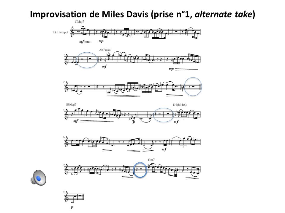 Improvisation de Miles Davis (prise n°1, alternate take)