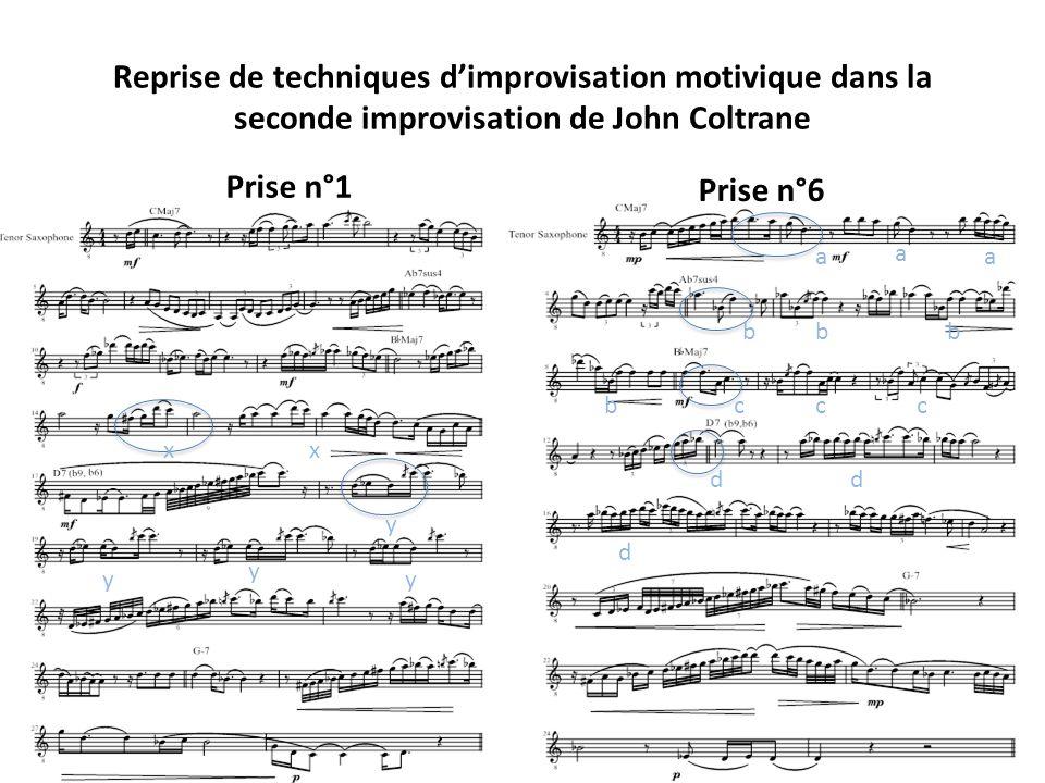 Reprise de techniques d'improvisation motivique dans la seconde improvisation de John Coltrane
