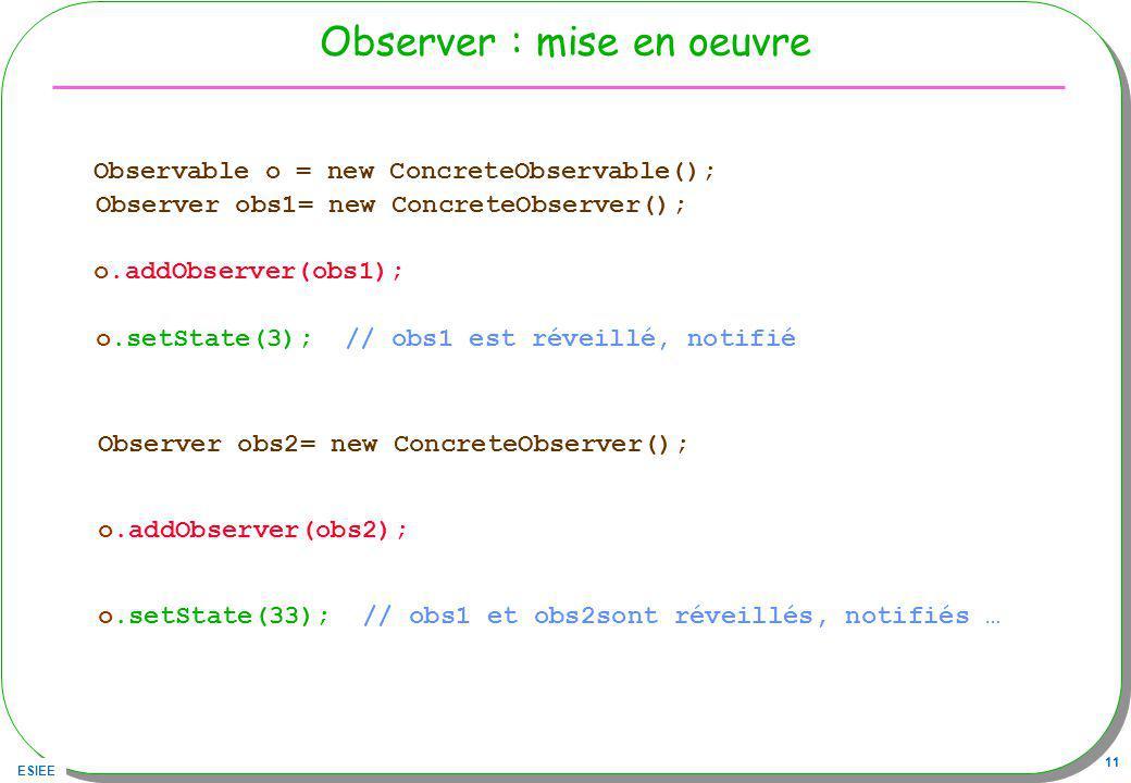 Observer : mise en oeuvre