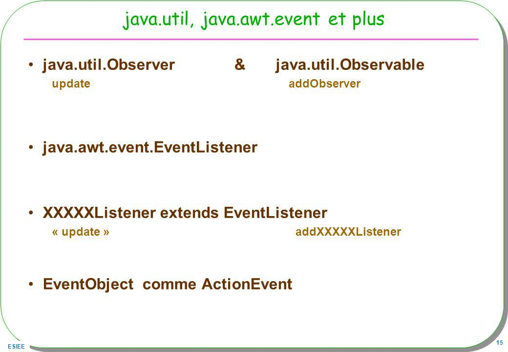 java.util, java.awt.event et plus