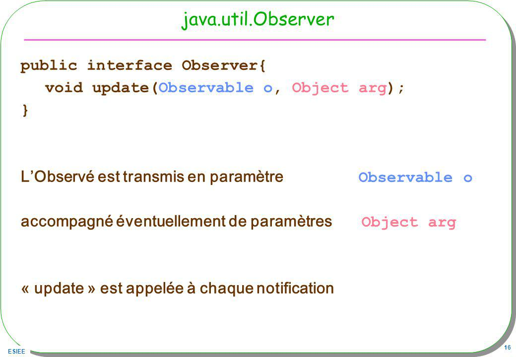 java.util.Observer public interface Observer{