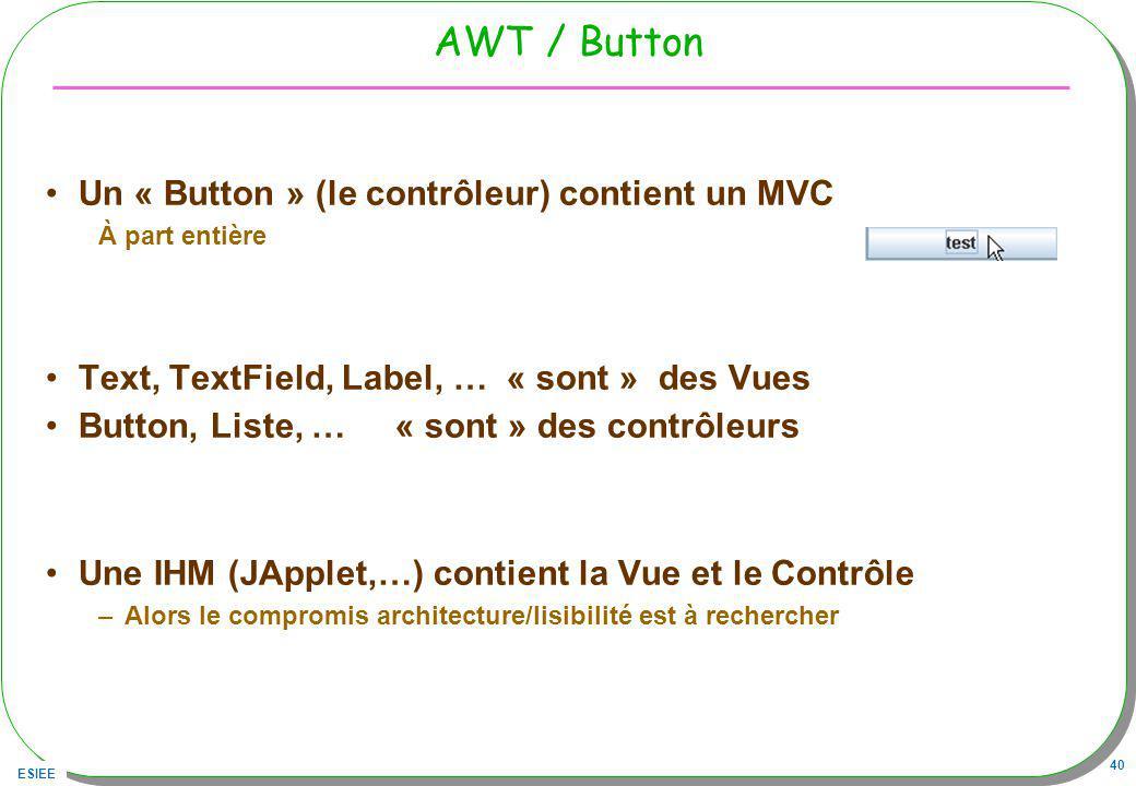 AWT / Button Un « Button » (le contrôleur) contient un MVC