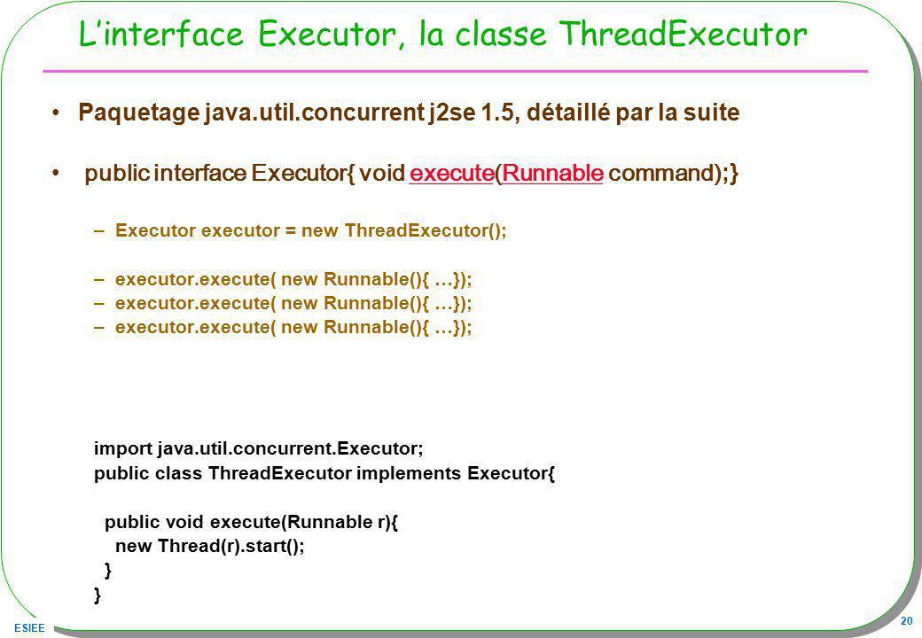 L'interface Executor, la classe ThreadExecutor