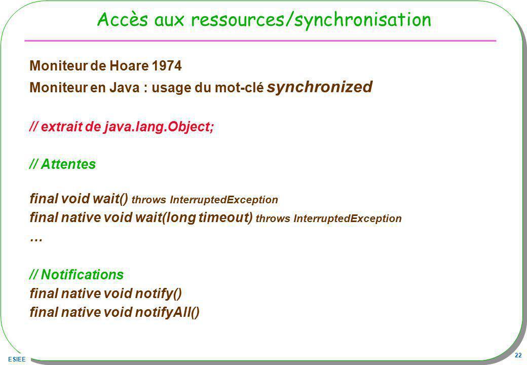 Accès aux ressources/synchronisation