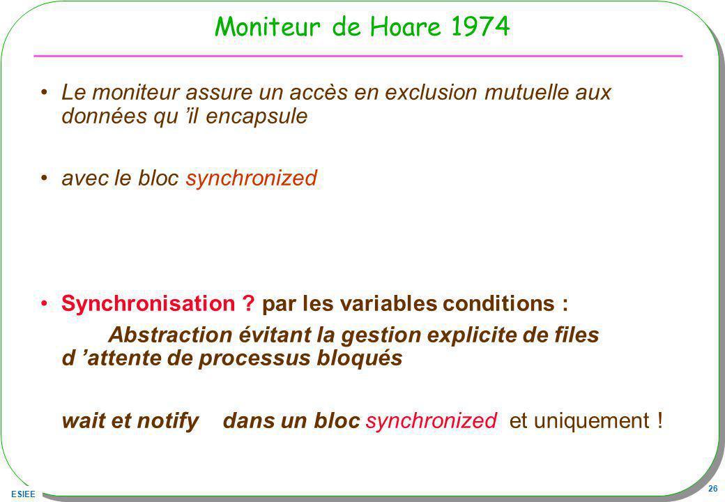 Moniteur de Hoare 1974 Le moniteur assure un accès en exclusion mutuelle aux données qu 'il encapsule.