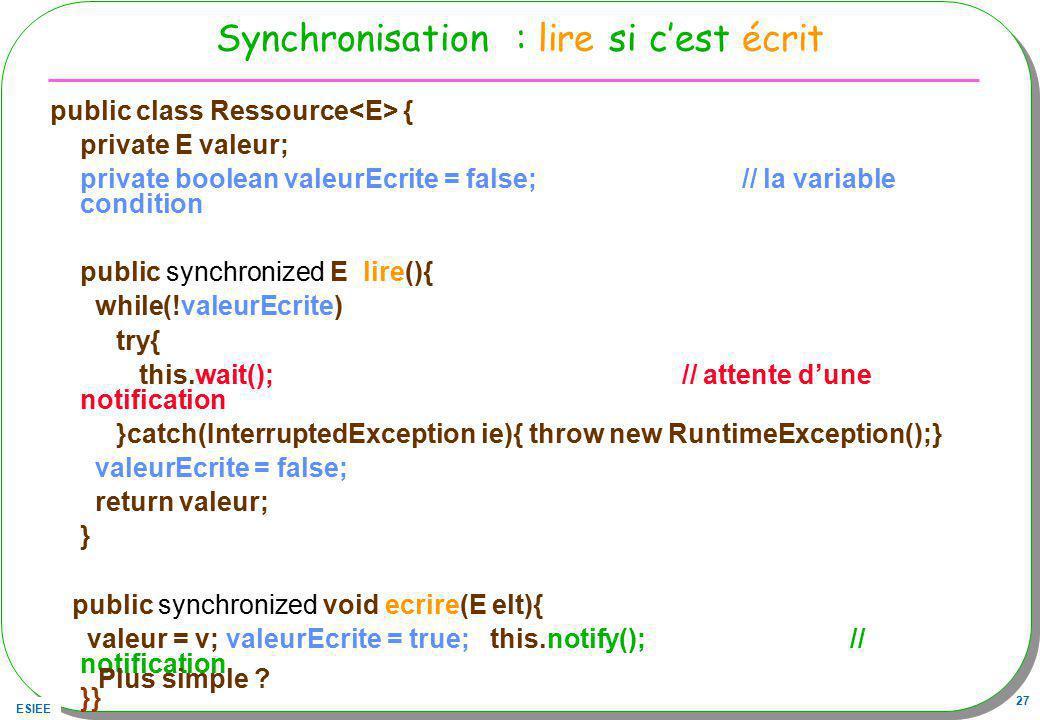 Synchronisation : lire si c'est écrit