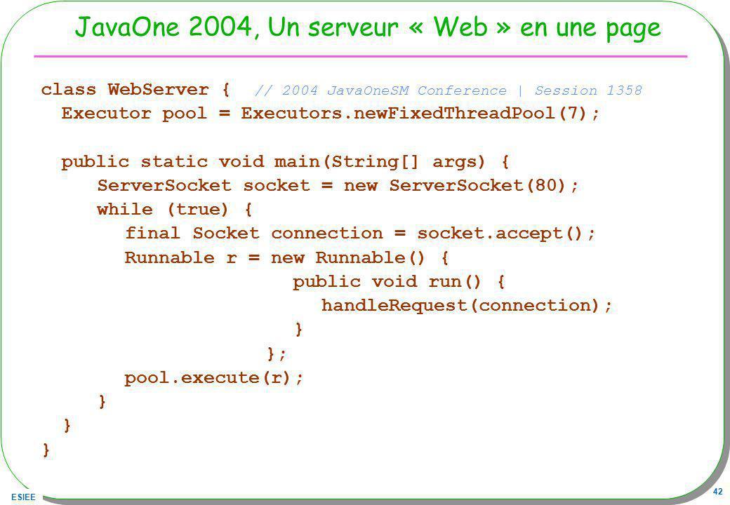 JavaOne 2004, Un serveur « Web » en une page