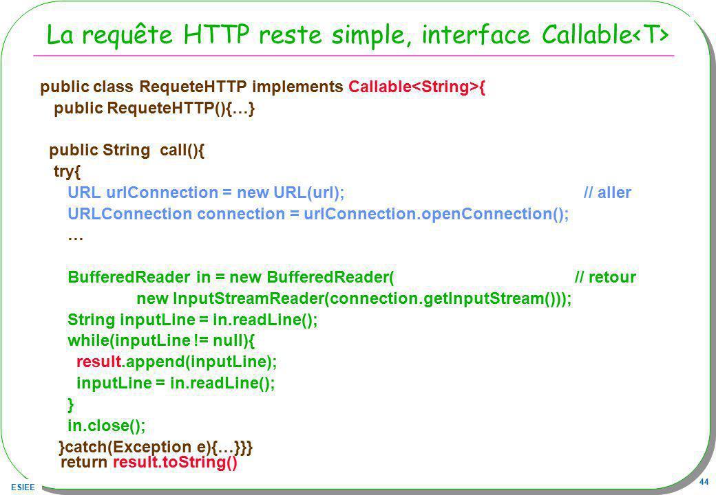 La requête HTTP reste simple, interface Callable<T>