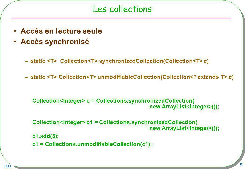 Les collections Accès en lecture seule Accès synchronisé