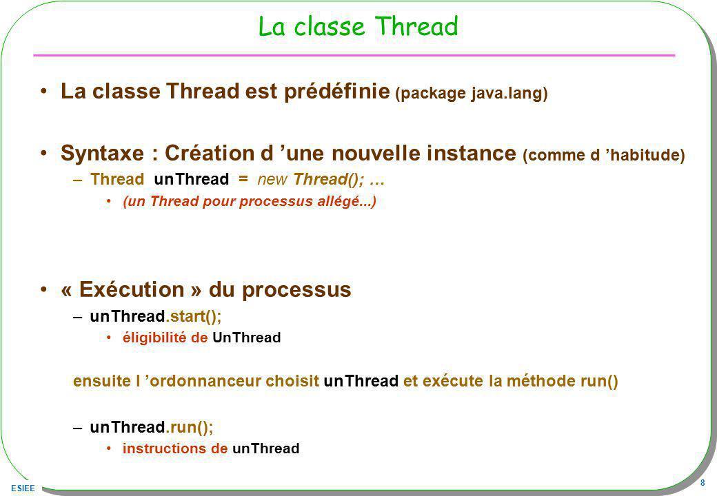 La classe Thread La classe Thread est prédéfinie (package java.lang)