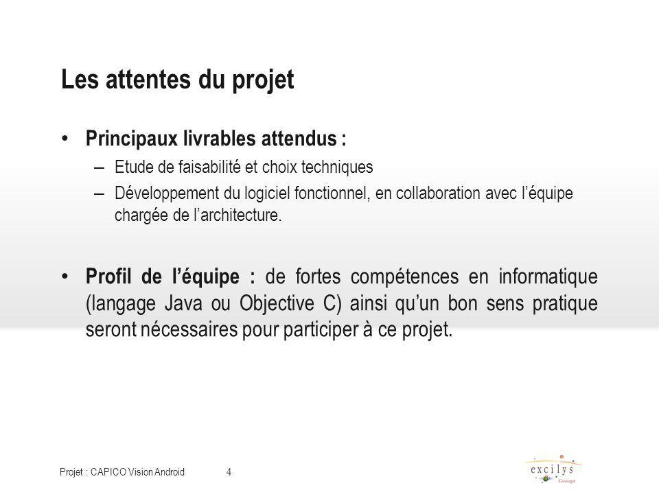 Les attentes du projet Principaux livrables attendus :