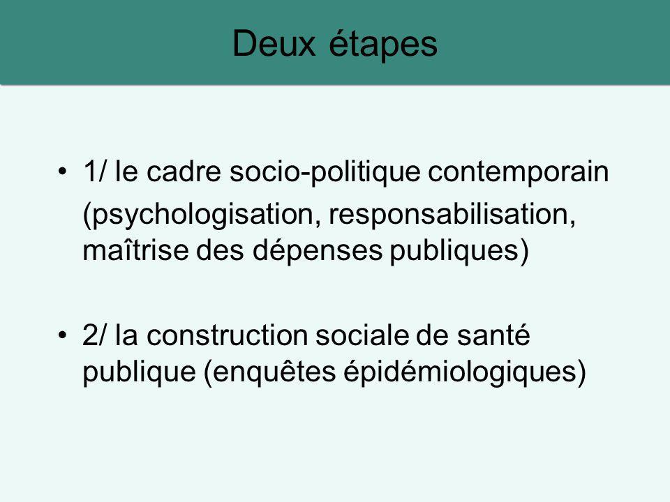 Deux étapes 1/ le cadre socio-politique contemporain