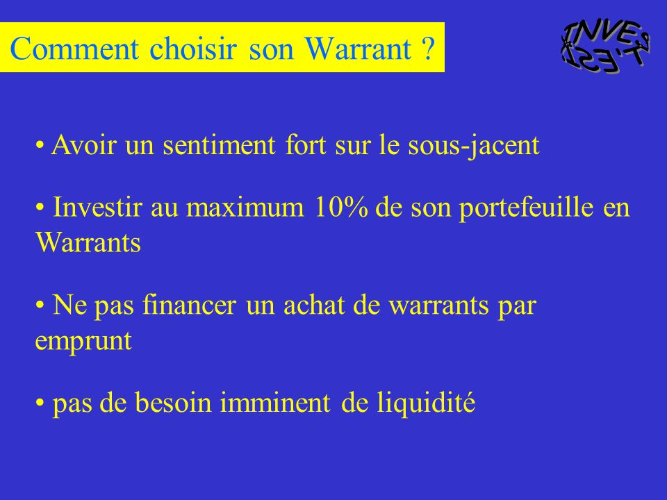 Comment choisir son Warrant