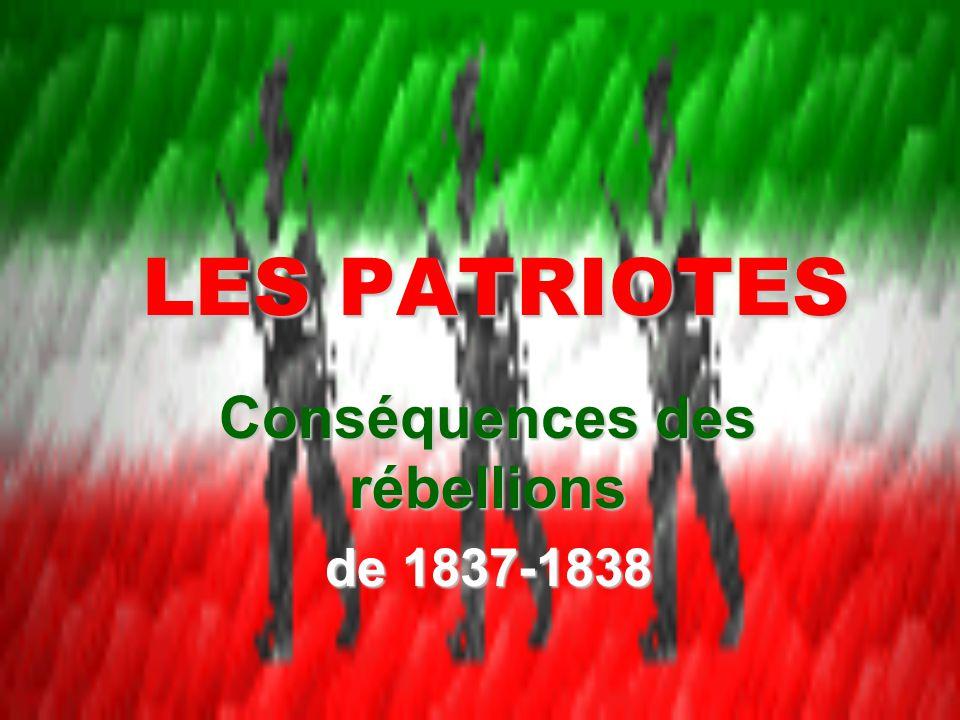 Conséquences des rébellions de 1837-1838