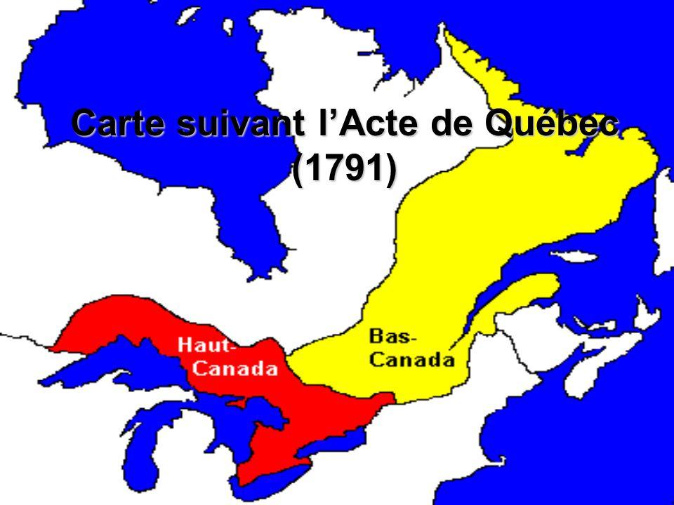 Carte suivant l'Acte de Québec